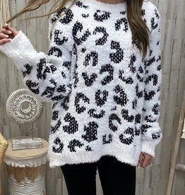 POL Clothing Inc. White/Black Leopard Berber Sweater