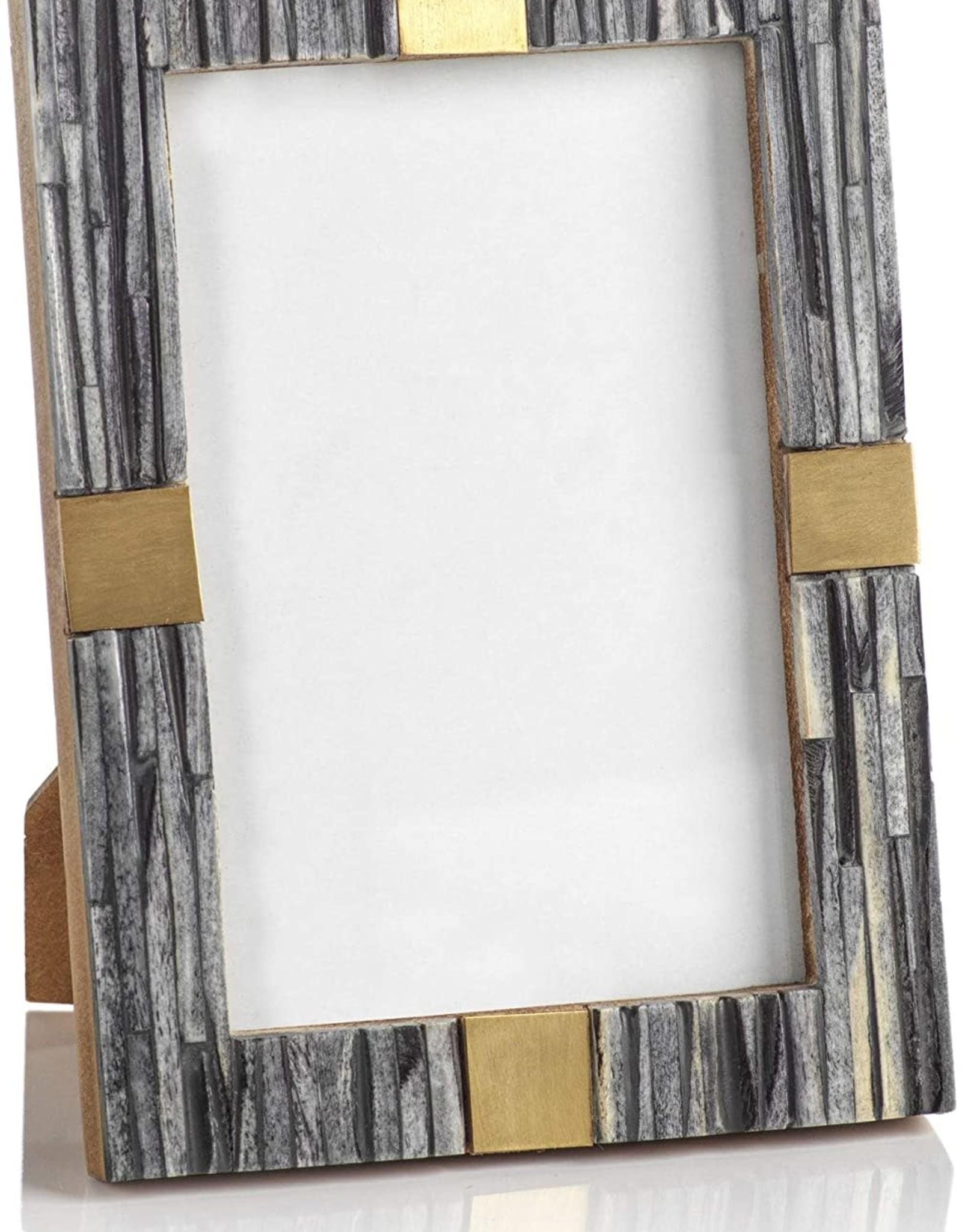 Zodax Zodax Ribbed Gray Bone & Brass Leaf Frame