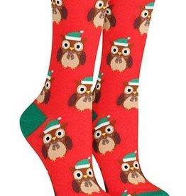 Socksmith Women's Owl Ready for Winter Red Socks