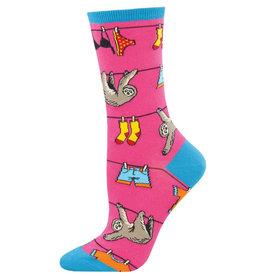 Socksmith Women's Sloth on a Line Pink Socks