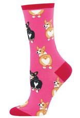 Socksmith Women's Corgi Butt Pink Socks