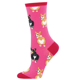 Socksmith Women's Corgi Butt Pink Socks