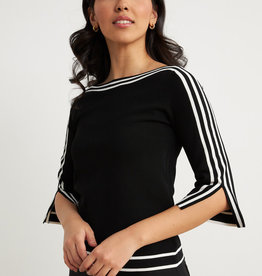 Joseph Ribkoff Black/White Stripe Yoke Knit Top