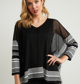 Joseph Ribkoff Sheer Black 3/4 Sleeve Top with White Stripe Detail