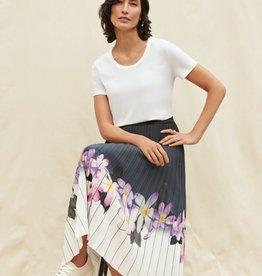 Joseph Ribkoff Ombre Floral Pleated Midi Skirt
