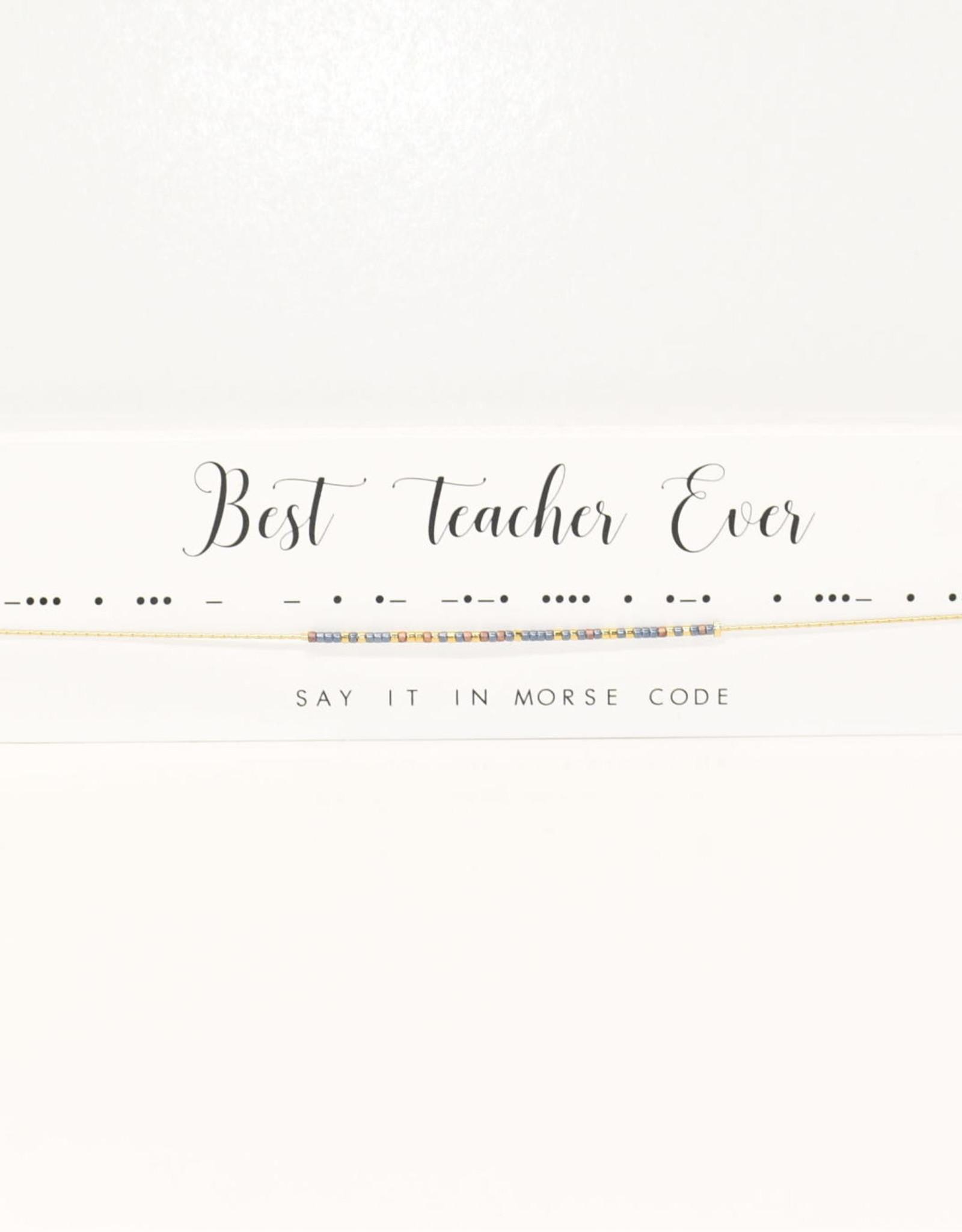 Dot & Dash Design Dot & Dash Necklace Best Teacher Ever Gold