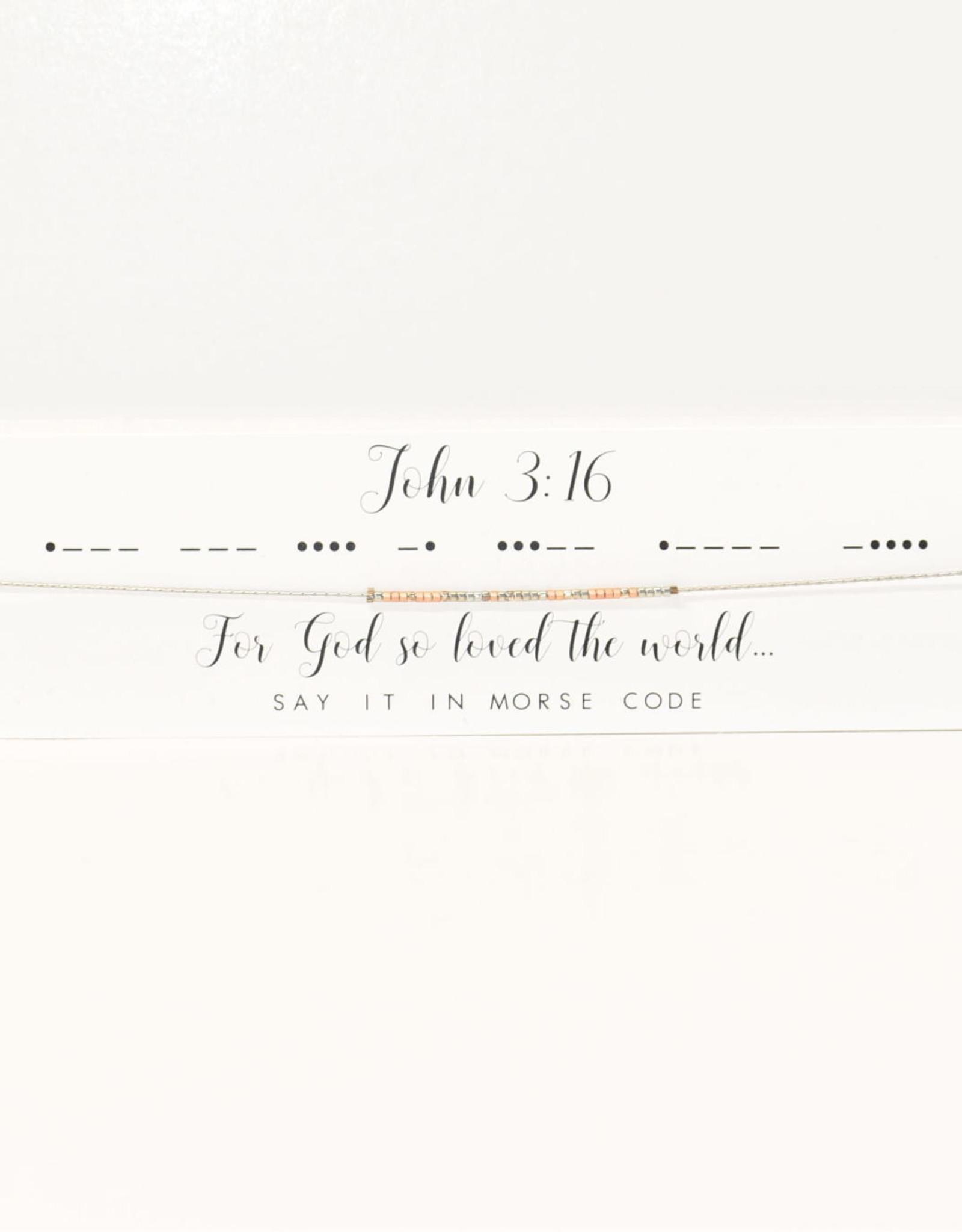Dot & Dash Design Dot & Dash Necklace John 3:16 Silver
