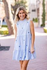 J. Marie Quinn Dress Blue Stripe Blue 2 Tone Embroidery