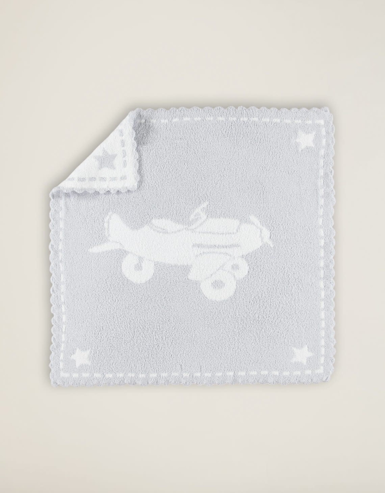 Barefoot Dreams Barefoot Dreams CozyChic Scalloped Receiving Blanket Blue/White Airplane