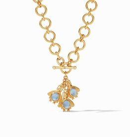 Julie Vos Julie Vos Bee Charm Necklace Chalcedony & Clear