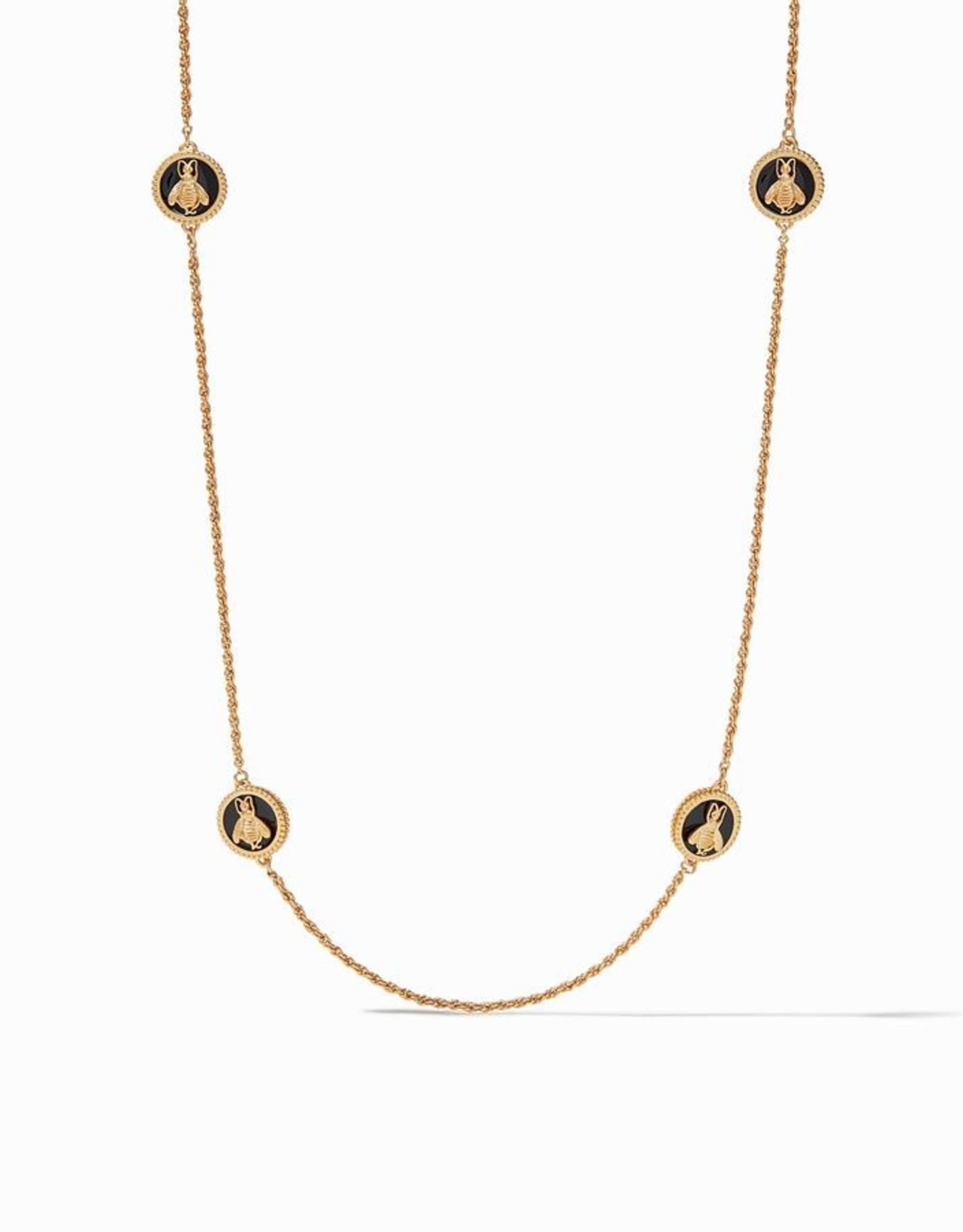 Julie Vos Julie Vos Bee Cameo Station Necklace Black Enamel