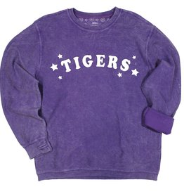 Kickoff Couture Tigers Trophy Corded Crew Pullover