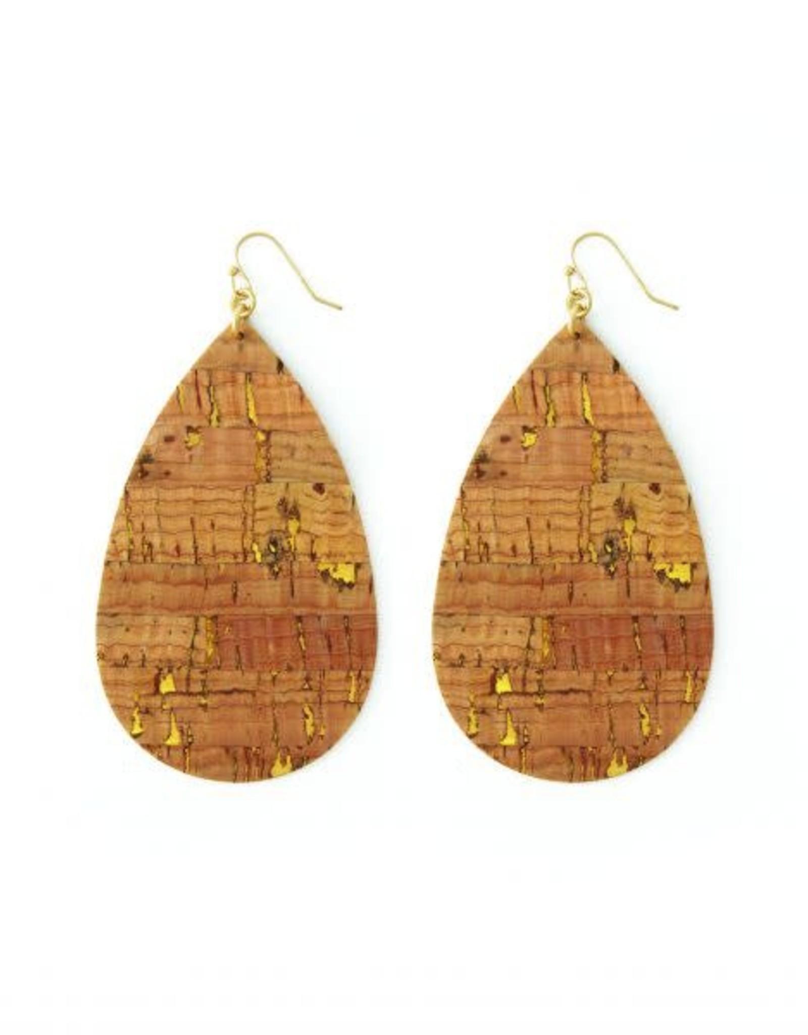 Splendid Iris E – Large gold accented cork teardrop