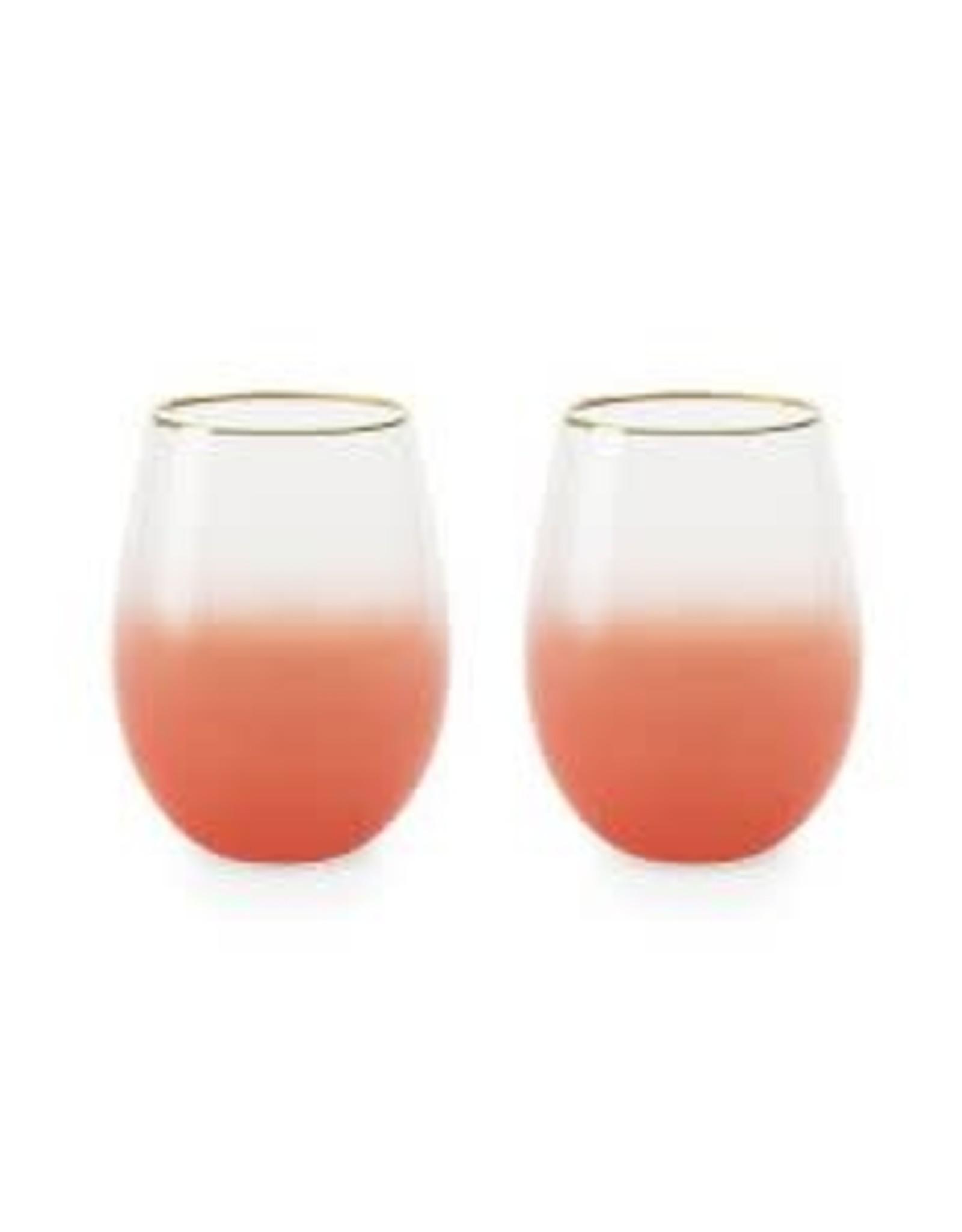 Blush Mariposa Stemless Wine Glasses (Set of 2)