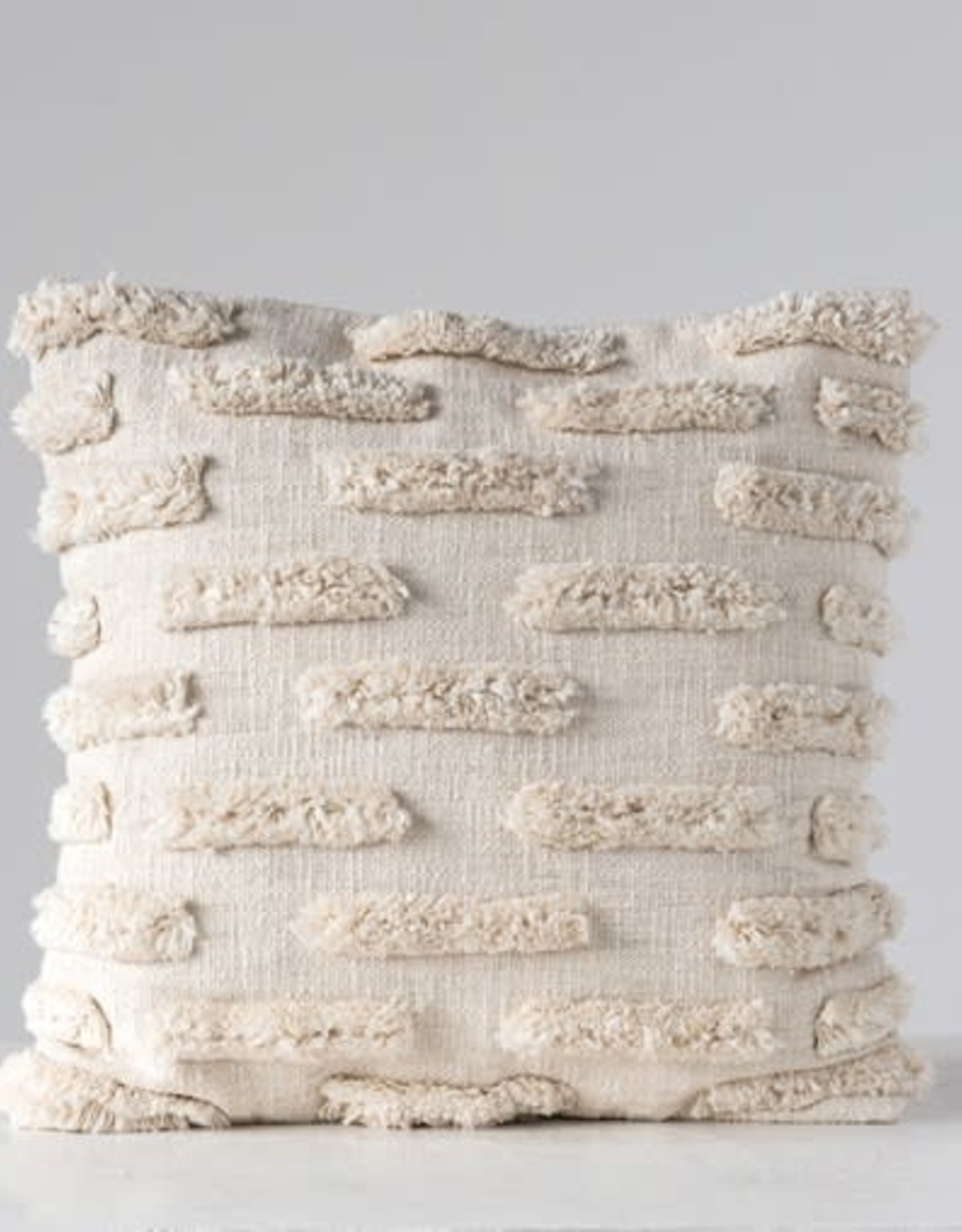 "Creative Co-OP 20"" Square Cotton Woven Fringe Pillow"
