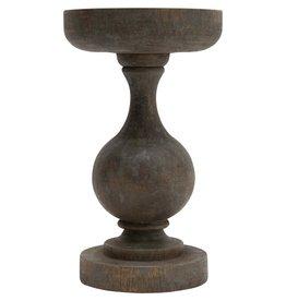 """Creative Co-OP 6"""" Round x 10""""H Mango Wood Candle Holder, Blackwash Finish (Holds 5"""" Pillar)"""