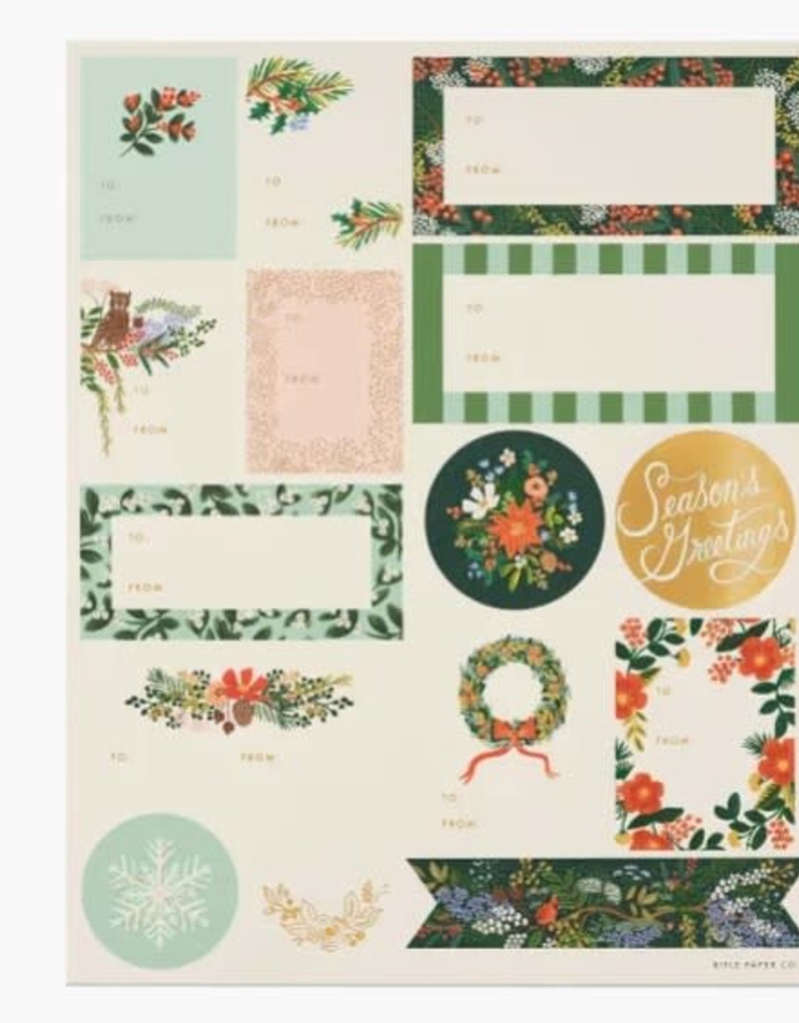 Rifle Paper Co. RPC   Pack of 3 Winter Floral Stickers & Labels