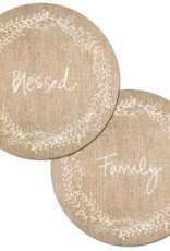 CounterArt reverse round placemat | family blessed