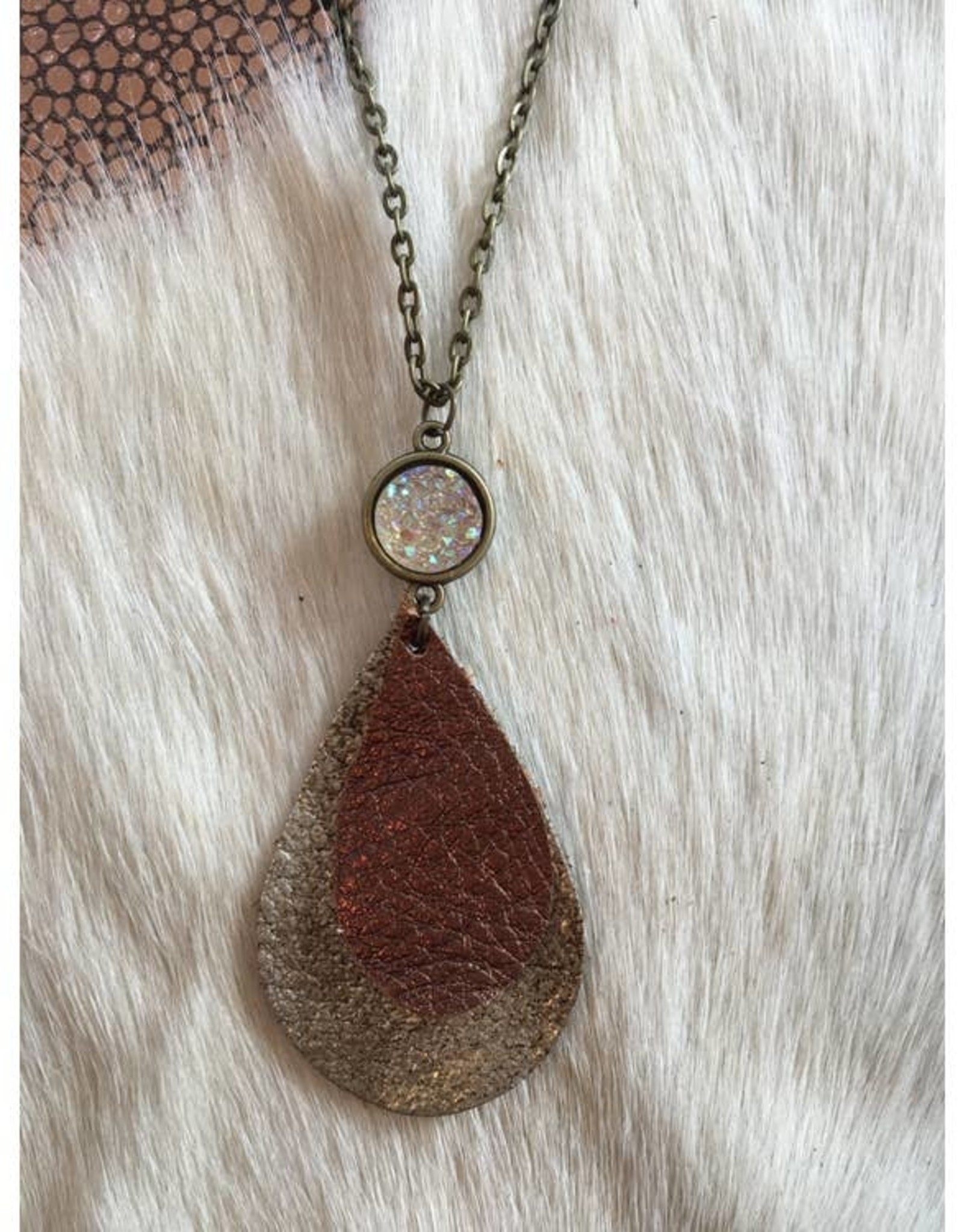 Mod Miss Bronze on Brown Sugar Teardrop Leather Necklace
