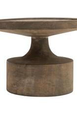 """Creative Co-OP 7"""" Round x 5""""H Mango Wood Candle Holder, Blackwash Finish (Holds 6"""" Pillar)"""
