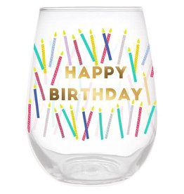 Slant Collections Wine Glass - Happy Birthday Candles
