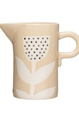 Creative Co-OP Hand-Painted Stoneware Pitcher w/ Flower, Pink