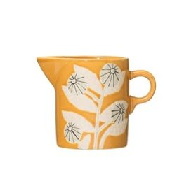 Creative Co-OP Hand-Painted Stoneware Creamer w/ Flower, Mustard Color