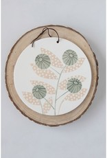 """Creative Co-OP 10"""" Round Hand-Painted Stoneware Cheese/Cutting Board w/ Flower & Leather Tie"""
