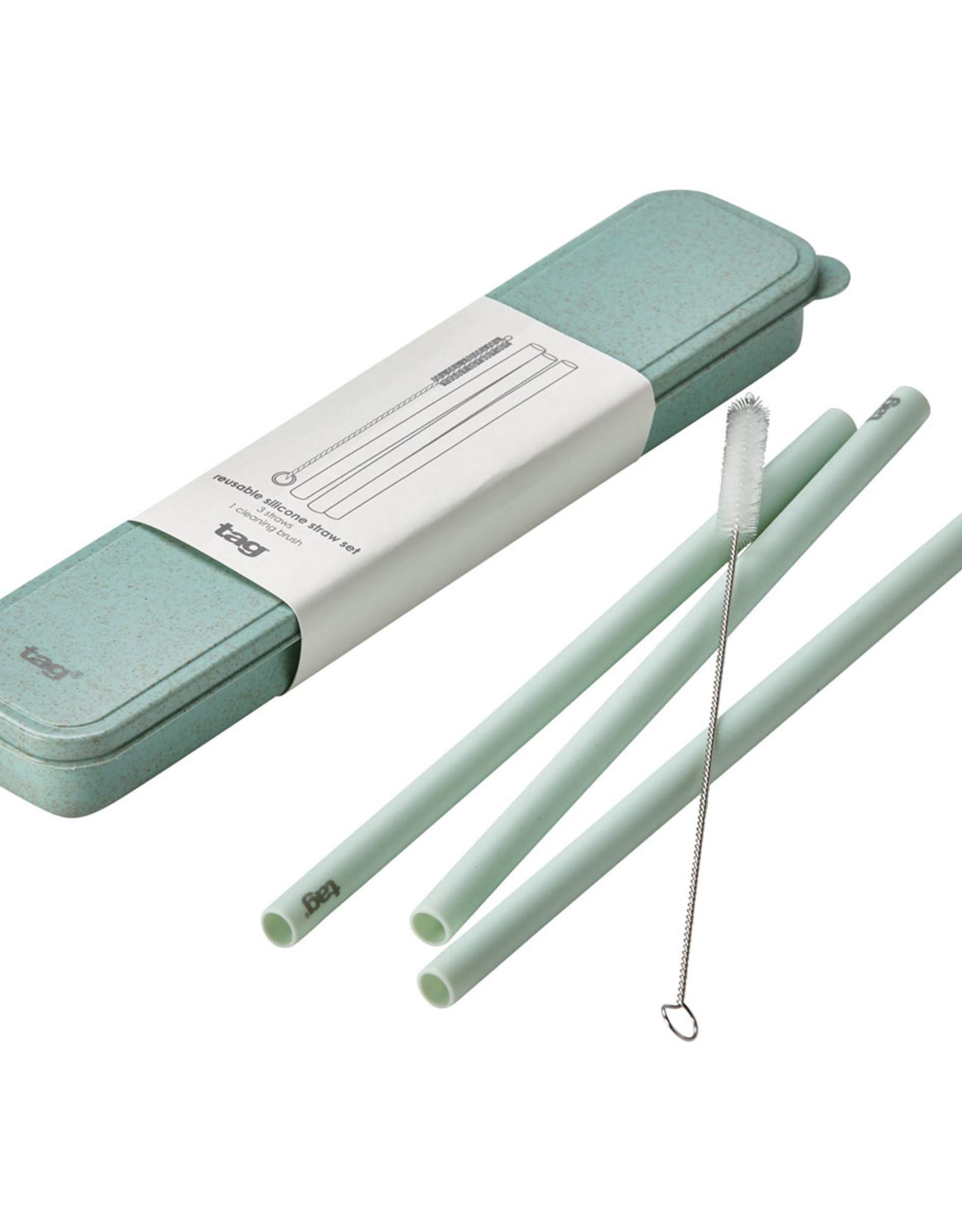 Tag TAG   reusable silicone straw set