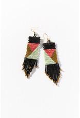 Ink+Alloy Ink+Alloy | black, terra cotta, mint, gold geo pattern seed bead earrings 3.75 in.