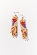 Ink+Alloy Ink+Alloy   pink, ivory, lilac, terracotta geo seed bead earring 3.75 in.