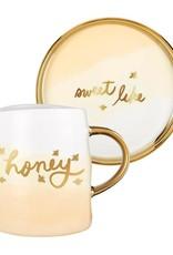 Slant Collections 12oz Artisanal Mug & Saucer Set - Honey