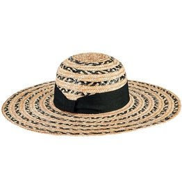San Diego Hat Company Women's Mixed Wheat Straw Stripe Sun Hat