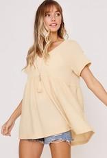 Megan V-Neck Babydoll Top | butter yellow