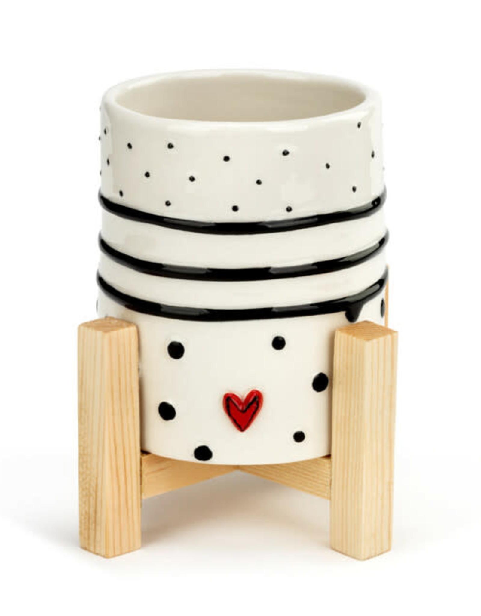 Demdaco Heartful Home | Mini Planter - dots & stripes