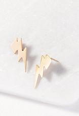 Ink + Alloy Ink + Alloy   Brass Small Thunderbolt Earrings