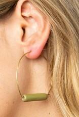 Ink + Alloy Ink + Alloy | Olive & Brass Ceramic Hoop Earrings