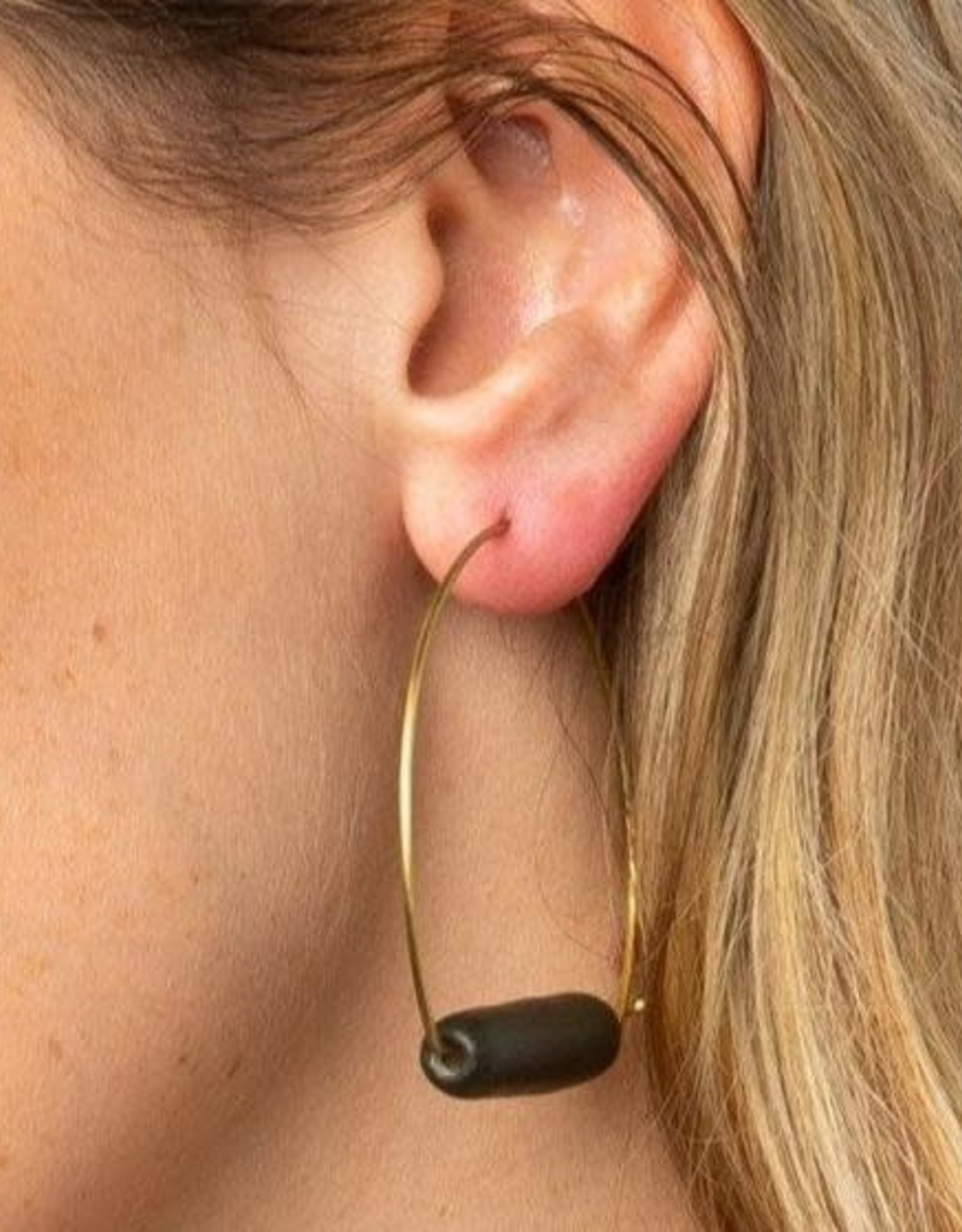 Ink + Alloy Ink + Alloy   Black and Brass Ceramic Hoop Earrings