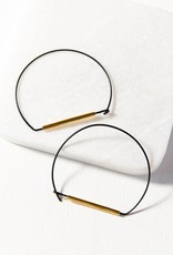Ink + Alloy Ink + Alloy   Black and brass large wire hoop earring