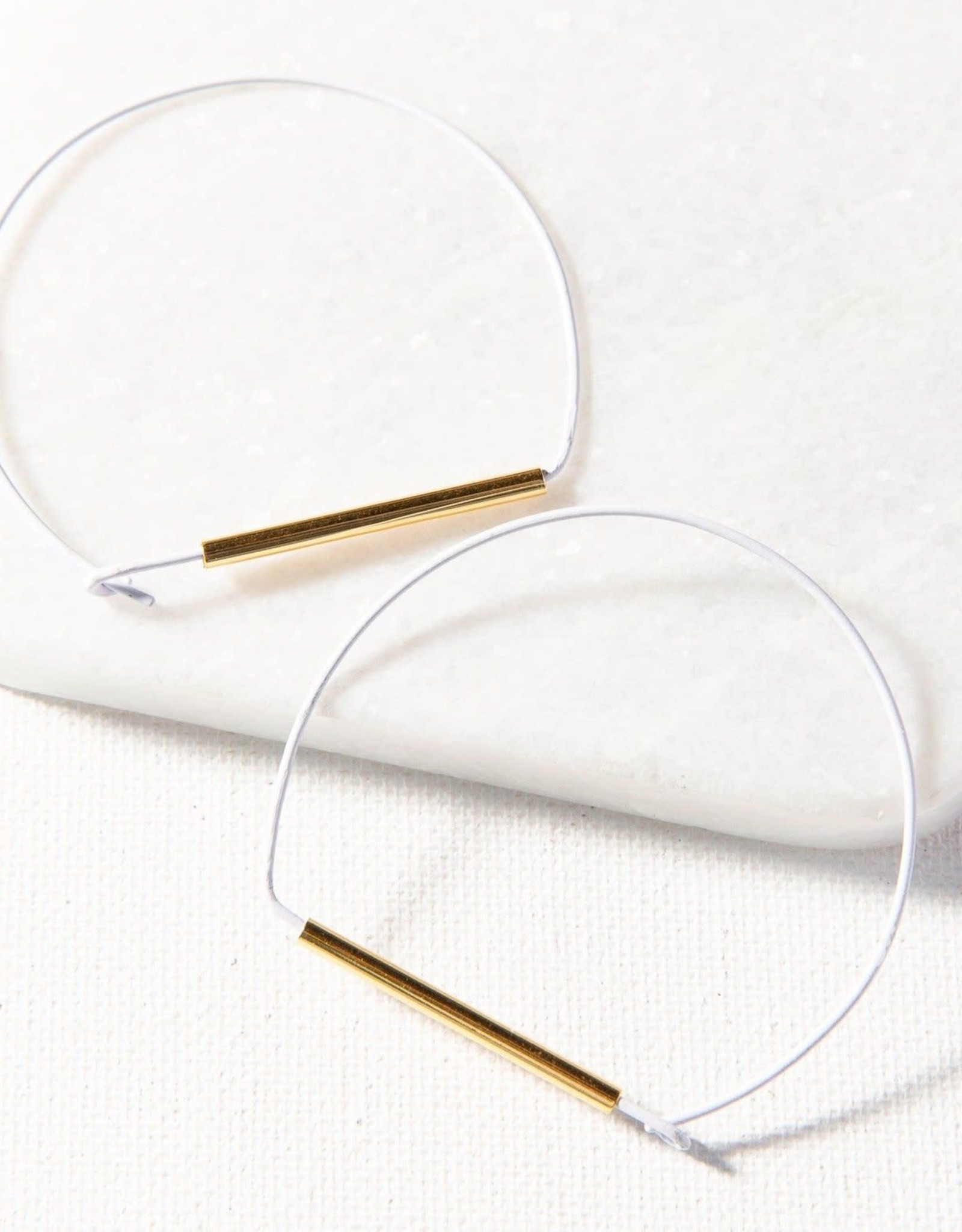 Ink+Alloy Ink + Alloy   white and brass large wire hoop earring