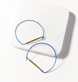 Ink + Alloy Ink + Alloy   cobalt and brass large wire hoop earring