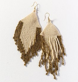 """Ink + Alloy Ink + Alloy   Ivory and gold 5"""" fringe earrings"""