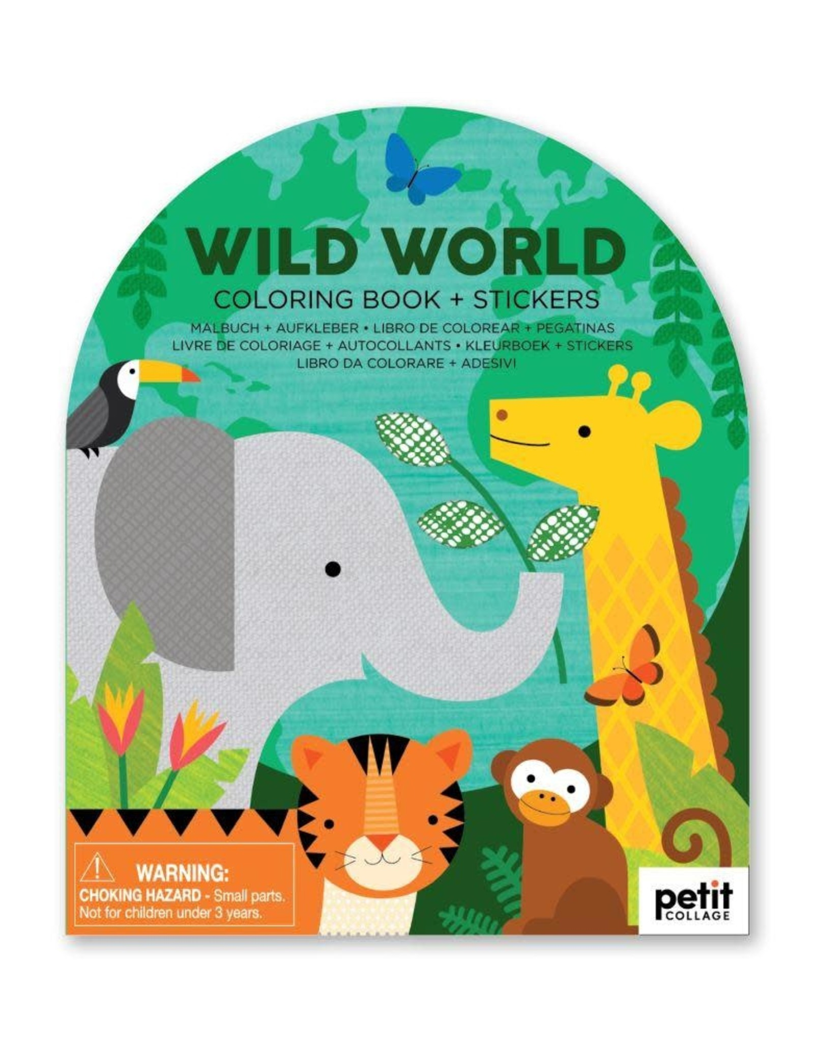 Petit Collage   Wild World Coloring Book + Stickers