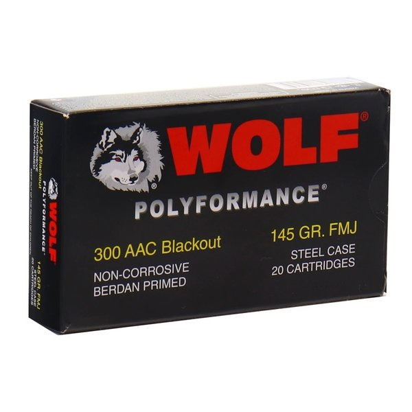 IN STORE ONLY - Wolf Polyformance 300 Blackout 145 Grain FMJ Steel Case - 20 rnd