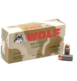 IN STORE ONLY - Wolf Military Classic 45 ACP AUTO Ammo 230 Grain FMJ Steel Case - 50 rnd