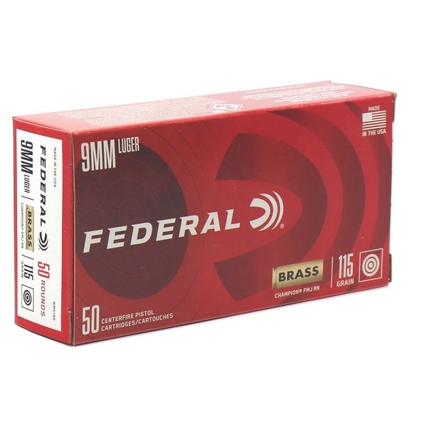 IN STORE ONLY - Federal Champion 9mm Luger Ammo 115 Grain Full Metal Jacket - 50 rnds