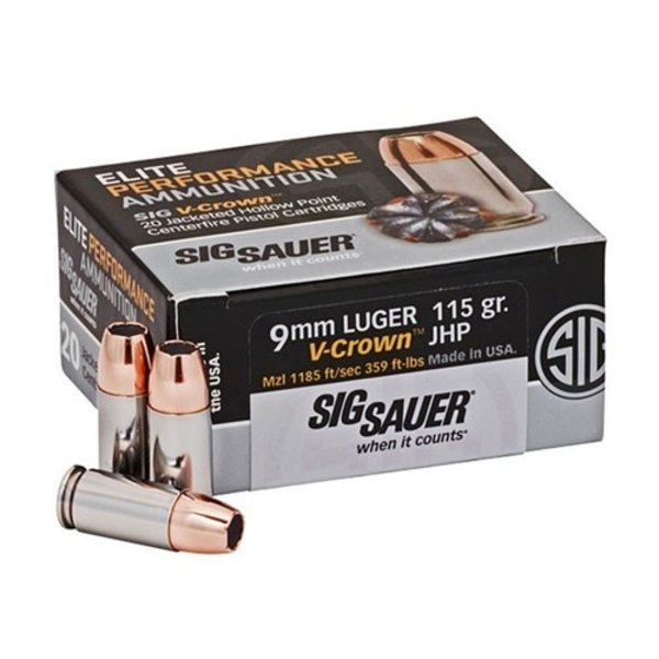IN STORE ONLY - Sig Sauer Elite Performance 9mm Luger Ammo 115 Grain V-Crown Jacketed Hollow Point - 20 rnd