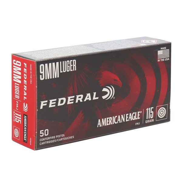 IN STORE ONLY - Federal 9mm Luger Ammo 115 Grain Full Metal Jacket - 50 rnd