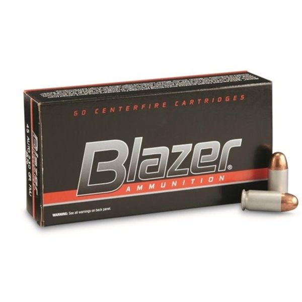 IN STORE ONLY - CCI Blazer 45 ACP AUTO Ammo 230 Grain Full Metal Jacket Aluminum Case - 50 rnd