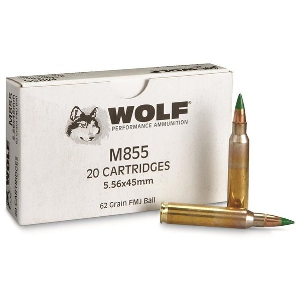 IN STORE ONLY - Wolf Gold 5.56mm M855 NATO Ammo 62 Grain Full Metal Jacket - 20 rnd